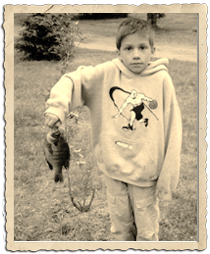 Vintage photo of boy and fish